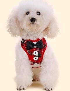 billiga Hundkläder-Hund Små pälsdjur Husdjur Smoking Koppel Knyta / Fluga Hundkläder Pläd / Rutig Rosett Klassisk Röd Svart Tyg Kostym För husdjur Djur