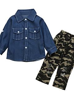 billige Tøjsæt til piger-Unisex Daglig Ferie Ensfarvet Trykt mønster Tøjsæt, Bomuld Akryl Forår Sommer Langærmet Vintage Sødt Lyseblå