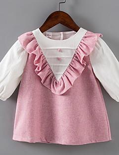 billige Babykjoler-baby pige daglige farve blok kjole, polyester sommer lange ærmer lyseblå beige rødme pink 80