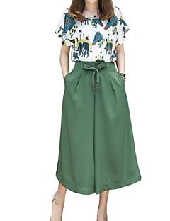 billige Kvinde underdele-Dame Plusstørrelser Basale Skjorte - Geometrisk, Trykt mønster Bukse Krave / Sommer