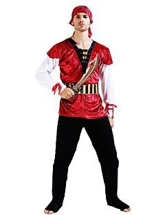 billige Halloweenkostymer-Pirates of the Caribbean Kostume Unisex Halloween Karneval Barnas Dag Festival / høytid Halloween-kostymer Drakter Rød Ensfarget Halloween