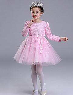 billige Pigekjoler-Pigens Kjole Polyester Sommer Kortærmet Pænt tøj Rosette Blonde Hvid Rød Lys pink