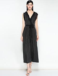 billige Jumpsuits og sparkebukser til damer-Dame Ferie Vintage / Bohem Tynn / Løstsittende Kjeledresser - Stripet / Helfarge, Drapering V-hals Chinos