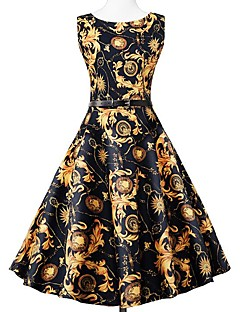 お買い得  レディースドレス-女性用 ヴィンテージ ストリートファッション スウィング ドレス - パッチワーク, チェック ミディ