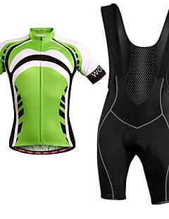 billige Sykkelklær-WOSAWE Kortermet Sykkeljersey med bib-shorts - Grønn Sykkel