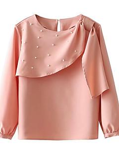 billige Bluse-Dame - Ensfarvet Perler Basale Bluse