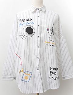 billige Skjorte-Krave Dame - Stribet Bogstaver Bomuld, Trykt mønster Basale Ferie Skjorte