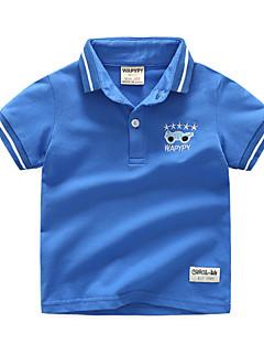 billige Overdele til drenge-Drenge Daglig Ferie Geometrisk Bluse, Bomuld Polyester Sommer Kortærmet Basale Blå Grøn Hvid Navyblå