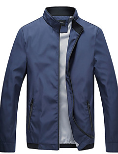 cheap Men's Jackets & Coats-Men's Daily / Sports Basic Spring / Fall Regular Jacket, Solid Colored Stand Long Sleeve Polyester Red / Navy Blue / Royal Blue XL / XXL / XXXL