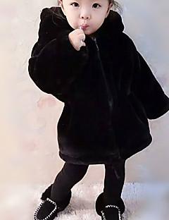 billige Jakker og frakker til piger-Unisex Jakke og frakke Daglig I-byen-tøj Ensfarvet, Imiteret pels Vinter Efterår Langærmet Sødt Aktiv Sort
