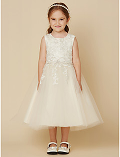 cheap Flower Girl Dresses-A-Line Knee Length Flower Girl Dress - Lace Tulle Sleeveless Jewel Neck with Beading Appliques by LAN TING BRIDE®