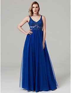 저렴한 특별한 이벤트 드레스-볼 드레스 V 넥 바닥 길이 레이스 튤 포멀 이브닝 드레스 와 비즈 아플리케 으로 TS Couture®