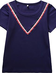billige Pigetoppe-Pige Ensfarvet Stribet T-shirt, Bomuld Forår Sommer Kortærmet Aktiv Navyblå
