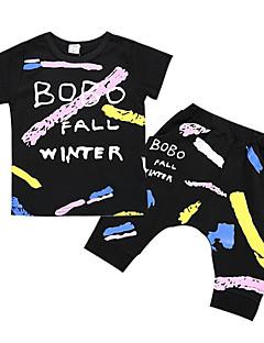 tanie Odzież dla chłopców-Dla chłopców Codzienny Geometryczny Komplet odzieży, Poliester Lato Krótki rękaw Podstawowy Black
