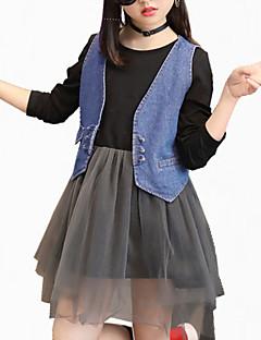 billige Tøjsæt til piger-Pige Tøjsæt Blomstret Broderi, Bomuld Efterår Alle årstider Langærmet Blomster Pænt tøj Sort