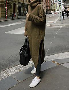 tanie Swetry damskie-Damskie Praca Moda miejska Golf Luźna Długi Pulower Jendolity kolor Długi rękaw