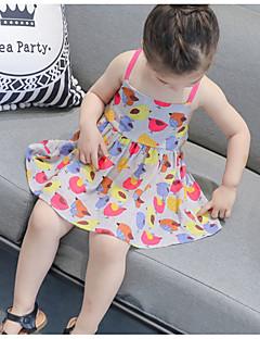 tanie Odzież dla dziewczynek-Sukienka Bawełna Poliester Dziewczyny Codzienny Urlop Kwiaty Lato Bez rękawów Aktywny Clover Gray Yellow
