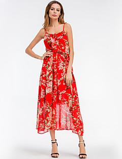 Χαμηλού Κόστους SHE IN SUN-Γυναικεία Βασικό Γραμμή Α Swing Φόρεμα - Φλοράλ Μακρύ