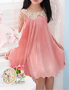 tanie Odzież dla dziewczynek-Sukienka Bawełna Dla dziewczynek Jendolity kolor Wiosna Lato Jesień Bez rękawów Green Różowy