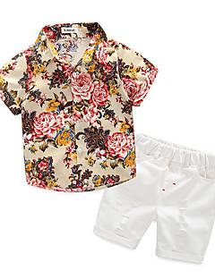 billige Tøjsæt til drenge-Drenge Daglig Blomstret Tøjsæt, Polyester Sommer Kortærmet Aktiv Blå Beige