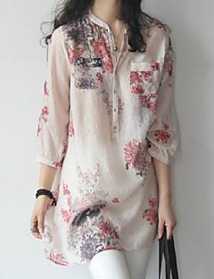billige Skjorte-Høj krave Løstsiddende Dame - Blomstret Gade Skjorte