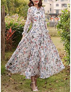 Χαμηλού Κόστους Long Sleeve Dresses-Γυναικεία Μεγάλα Μεγέθη Εξόδου / Αργίες Κομψό στυλ street Λεπτό Σιφόν / Swing Φόρεμα - Φλοράλ, Στάμπα Μακρύ Ψηλή Μέση