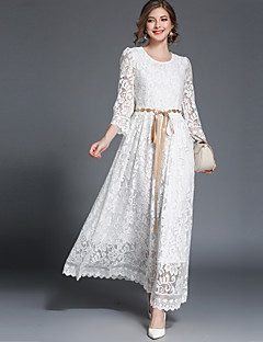 baratos Vestidos de Marca-Mulheres Vintage Moda de Rua balanço Vestido - Renda, Sólido Longo