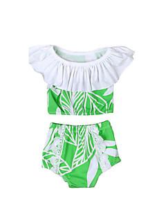 billige Badetøj til piger-Pige Vintage Sexet Trykt mønster Badetøj, Bomuld Akryl Uden ærmer Grøn