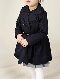 Χαμηλού Κόστους Καμπαρντίνες για κορίτσια-τα καθημερινά συμπαγή χρωματιστά παλτά των κοριτσιών, βαμβακερή άνοιξη πέφτουν μακριά μανίκια street chic