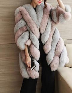 ieftine Blană& Piele Damă-Pentru femei Mărime Plus Size Palton Piele Bloc Culoare Blană Artificială