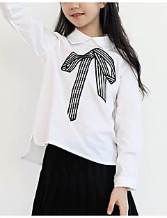 tanie Odzież dla dziewczynek-Koszula Poliester Dla dziewczynek Wiosna Długi rękaw Prosty White Navy Blue