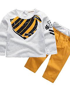 tanie Odzież dla chłopców-Dla chłopców Codzienny Szkoła Nadruk Komplet odzieży, Bawełna Poliester Wiosna Jesień Długi rękaw Vintage Moda miejska Yellow