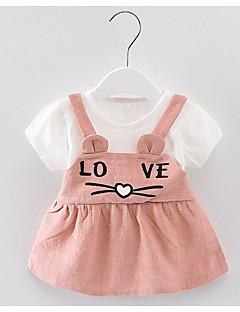 billige Babytøj-baby pige geometriske kjole, polyester sommer korte ærmer gul rødme pink grøn 80 110 100 90