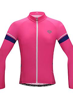 billige Sykkelklær-SANTIC Dame Langermet Sykkeljersey med tights - Rosa Sykkel Pustende / YKK-glidelås / Italia Importert blekk