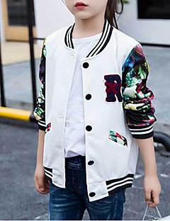 billige Jakker og frakker til piger-Pige Jakke og frakke Patchwork, Rayon Langærmet Simple Aktiv Hvid Lyserød