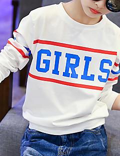 billige Hættetrøjer og sweatshirts til piger-Pige T-shirt Daglig I-byen-tøj Ferie Bomuld Forår Efterår Langærmet Tegneserie Hvid Lyserød