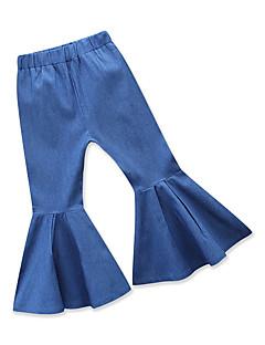 billige Bukser og leggings til piger-Ensfarvet Pigens Daglig Ferie Bomuld Polyester Forår Sommer Langærmet Kjole Sødt Aktiv Blå