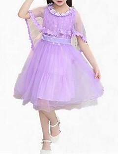 billige Prinsesse-Pigens Kjole I-byen-tøj Patchwork, Bomuld Sommer Uden ærmer Pænt tøj Blonde Hvid Lilla Lys pink