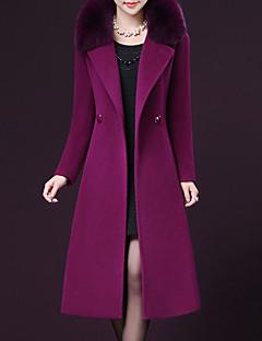 billige Plusstørrelser til kvinder på udsalg-Peter Pan-krave Dame Ensfarvet Plusstørrelser - Frakke