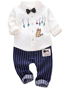 billige Sett med babyklær-Baby Unisex Ensfarvet 3/4-ærmer Tøjsæt