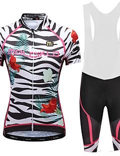 billige Sykkelklær-Malciklo Dame Sykkeljersey med bib-shorts - Hvit Svart Sykkel Sykkelshorts Med Seler Jersey, Fort Tørring, Anatomisk design, Refleksbånd,