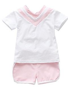 tanie Odzież dla dziewczynek-Dla dziewczynek Codzienny Wielokolorowa Komplet odzieży, Poliester Lato Krótki rękaw Podstawowy Orange Blushing Pink