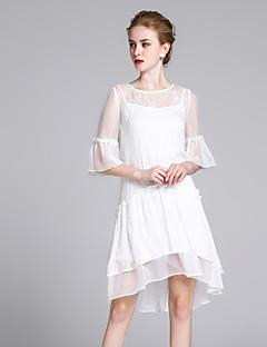 Χαμηλού Κόστους ZIYI-Γυναικεία Εξόδου Μετάξι Φαρδιά Swing Φόρεμα - Μονόχρωμο Μίντι