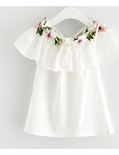 tanie Odzież dla dziewczynek-Sukienka Poliester Dziewczyny Codzienny Jendolity kolor Lato Krótki rękaw Podstawowy White Blushing Pink Yellow