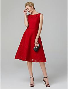 billiga Klänningar till speciella tillfällen-A-linje Båthals Telång Bomull / Spets / Mikado Cocktailfest / Bal Klänning med Spets av TS Couture®
