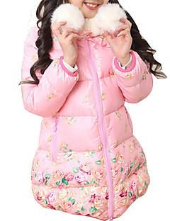 tanie Odzież dla dziewczynek-Odzież puchowa / pikowana Poliester Dla dziewczynek Codzienny Wyjściowe Szkoła Kwiaty Zima Długi rękaw Kwiatowy Różowy