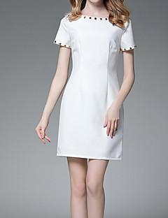 זול שמלות נשים-מעל הברך חרוזים, אחיד - שמלה נדן בסיסי בגדי ריקוד נשים