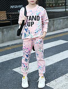 billige Tøjsæt til piger-Pige Tøjsæt Anden, Bomuld Spandex Forår Efterår Lyserød Navyblå