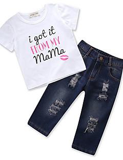 billige Sett med babyklær-Baby Pige Geometrisk Kortærmet Tøjsæt