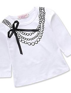 billige Pigetoppe-Pige Daglig Ferie Geometrisk T-shirt, Bomuld Polyester Forår Efterår Langærmet Sødt Aktiv Hvid